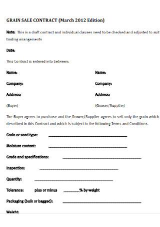 Grain Sale Contract Template