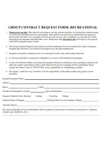Group Contract Request Form