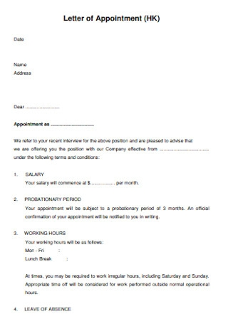 HEalth Letter of Appointment