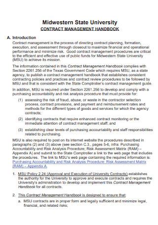 Handbook Management Contract Template