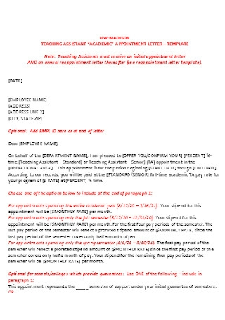 Health Teaching Appointment Letter