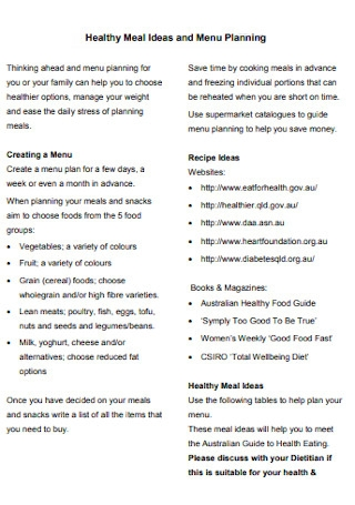 Healthy Meal Ideas Plan