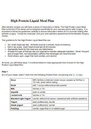High Protein Liquid Meal Plan