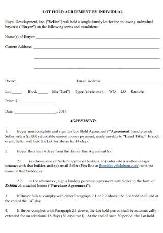 Hold Agreement by Individual Template