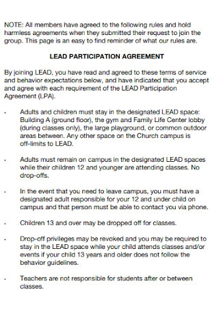 Hold Lead Participation Agreement