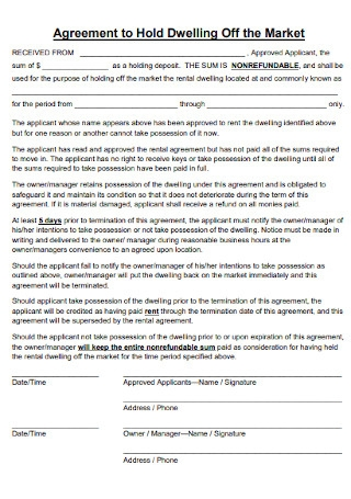 Hold Off Market Agreement
