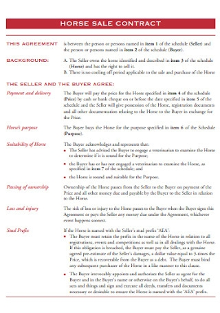 Horse Sales Contract Template