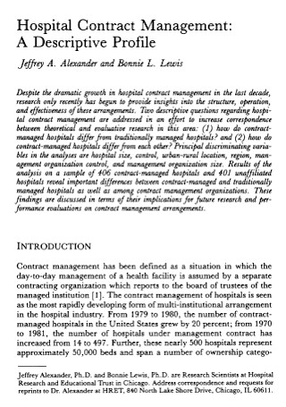 Hospital Management Contract