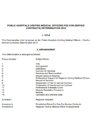 Hospitals Service Contract