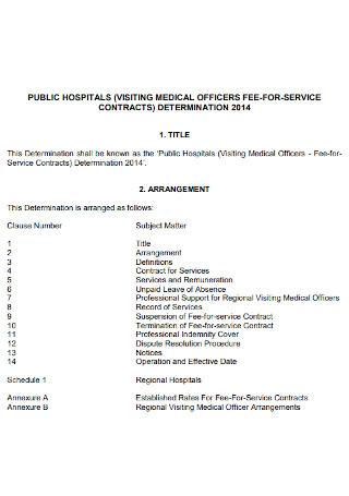 Hospitals Service Contract