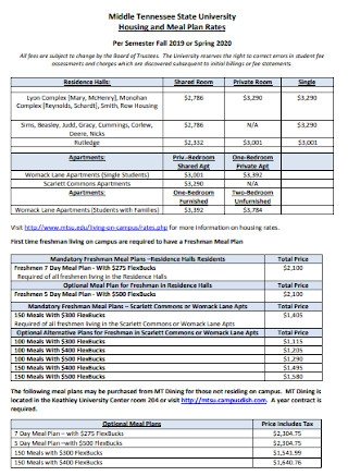 Housing and Meal Plan Rates Template