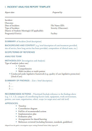 Incident Analysis Report Template