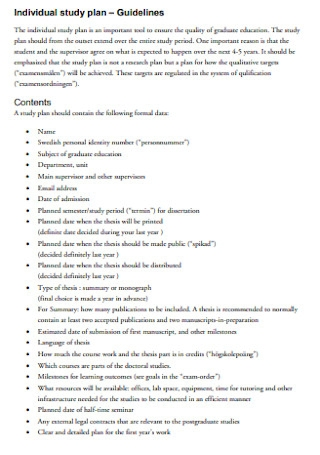 Individual Study Plan Example