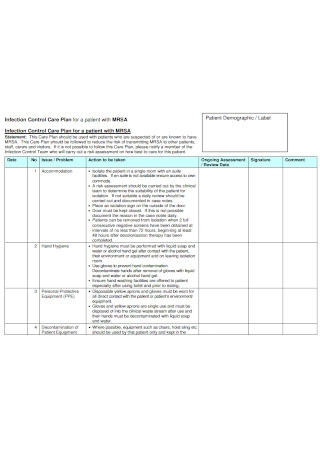 Infection Control Care Plan