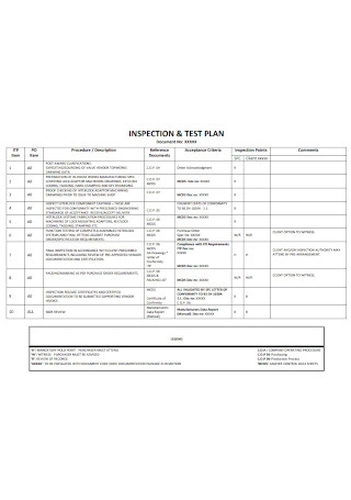Inspection and Test Plan Template