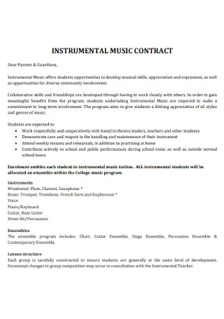 Instrumental Music Contract Template
