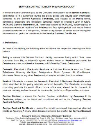 Insurance Serivce Contract Template