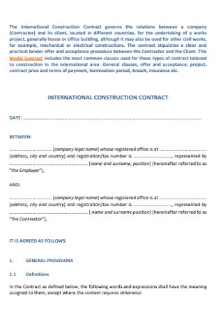 International Construction Contract Template