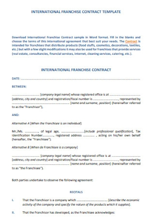 International Franchise Contract Template