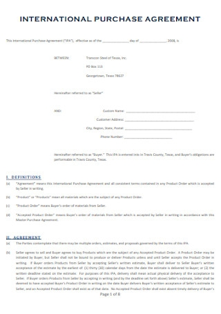International Purchase Agreement