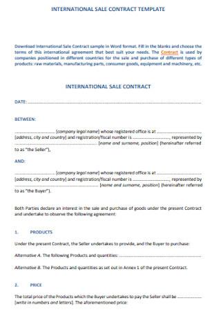 International Sale Contract Template