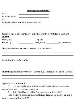 Internship Model Contract