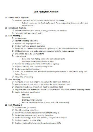 Job Analysis Checklist Template