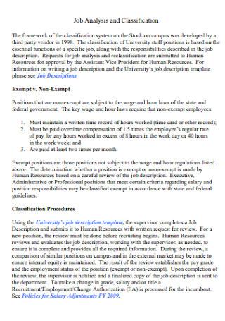 Job Analysis and Classification