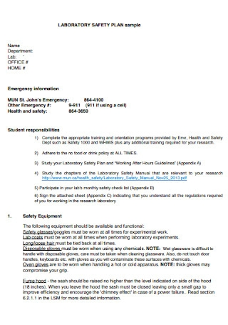 Laboratory Safety Plan Template
