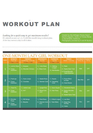 Lazy Girl Workout Plan