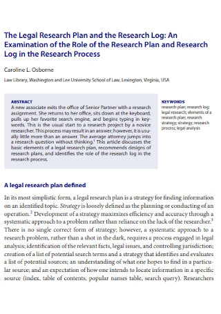 Legal Research Plan Template