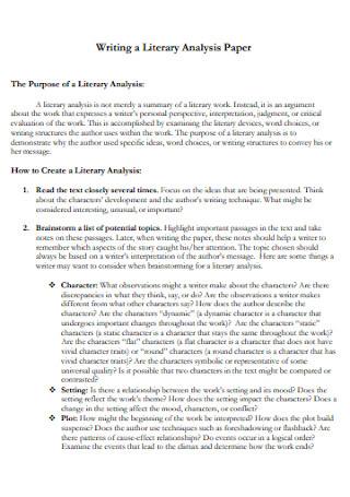 Literary Analysis Paper Template