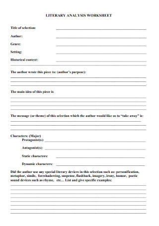 Literary Analysis Worksheet Template