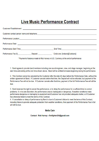 Live Music Performance Contract Example