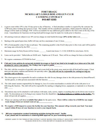 Lodge Catering Contract Template
