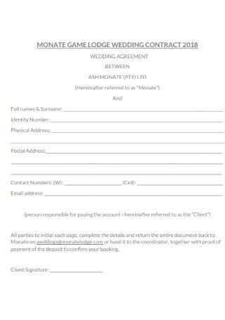 Lodge Wedding Contract