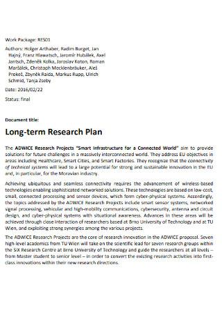 Long term Research Plan