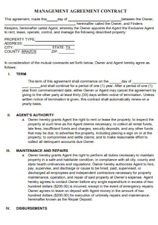 Management Agreement Contract