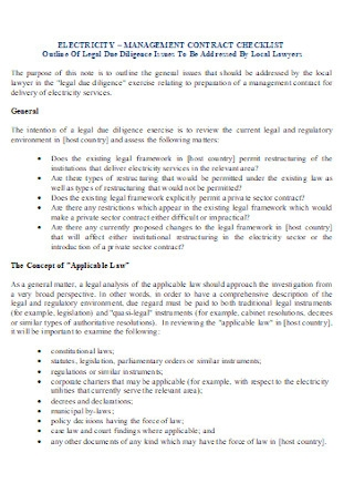 Management Contract Checklist Template