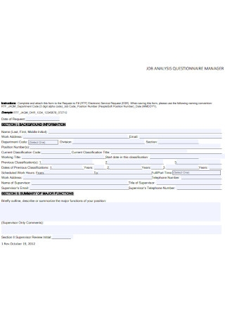 Manager Job Analysis Questionnaire