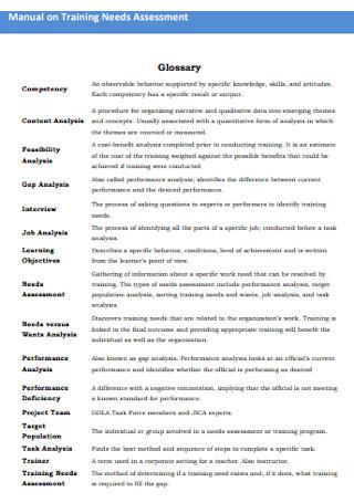 Manual on Training Needs Analysis