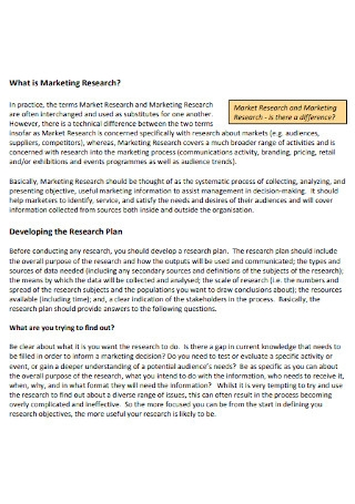 Marketing Research Plan Template