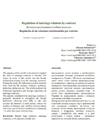 Marriage Relation Contract Template