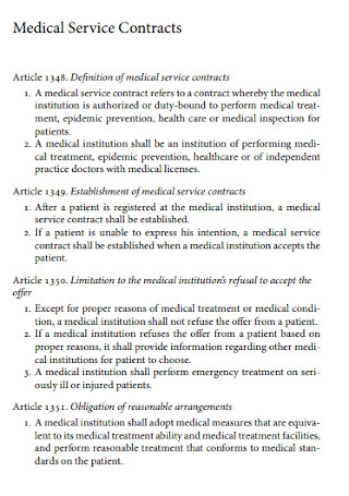 Medical Service Contracts