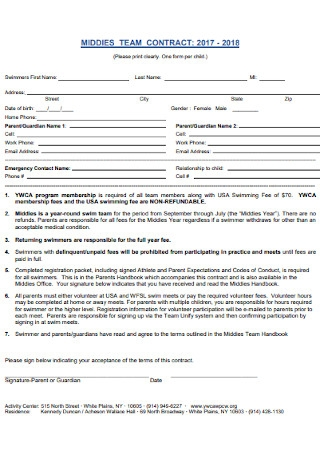Middies Team Contract