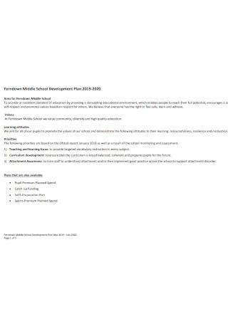 Middle School Development Plan