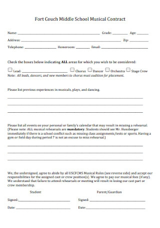 Middle School Musical Contract