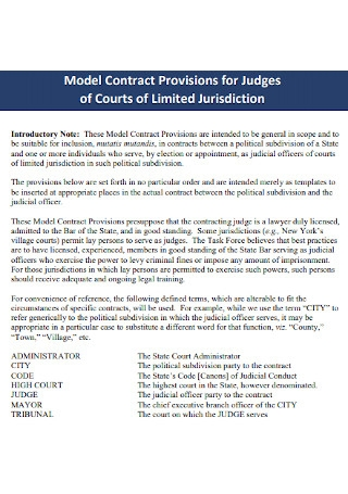 Model Contract Provisions for Judges