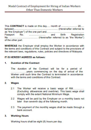 Model Contract for Employment Template
