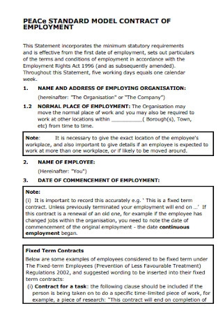 Model Contract for Employment